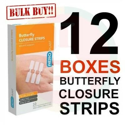 12 X FIRST AID BAND AID BUTTERFLY CLOSURES (10 pk) BULK VALUE SUPER ADHESION