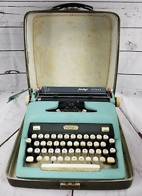 Vintage Royal Quiet Deluxe Portable Typewriter with Case 1950s 1960s