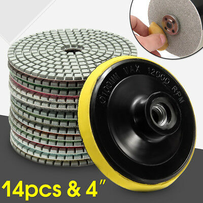 Diamond Polishing Pads 4 inch Wet/Dry 14 Piece Set Granite Stone Concrete Marble
