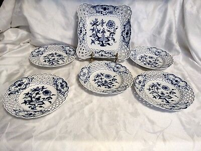 Meissen Blue Onion Lot Of 5 Reticulated 8 Inch  Plates And  9 Inch Berry Bowl