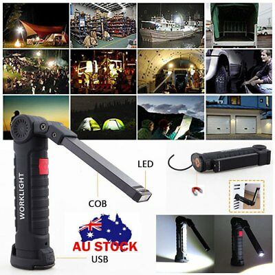 Rechargeable 18650 COB LED Magnetic Torch Inspection Lamp Work Light Flashlight