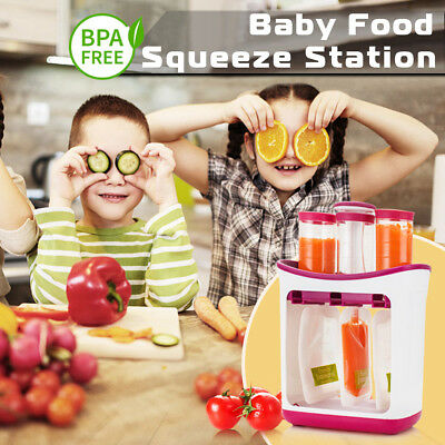 Infant Baby Feeding Food Squeeze Station Toddler Fruit Maker Dispenser Homemade