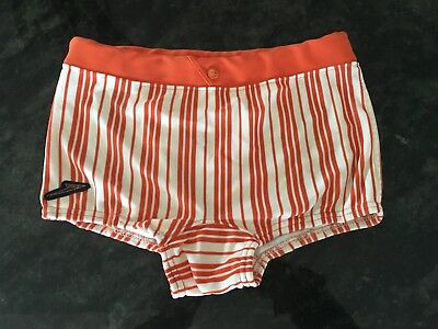 MENS FUNKY SPEEDO BATHERS, 1950 60 s ORIGINAL VINTAGE. ORANGE STRIPED LIKE NEW