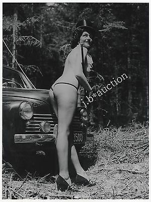 PINUP STRIPPER NUDE WOMAN OLDTIMER FOREST WALD AKT * Vintage 50s SEUFERT Photo