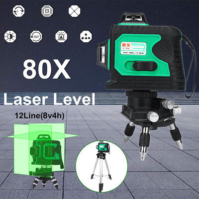 3D 12 Line 360° 80 Time Laser Level Auto Self Leveling Vertical Horizontal Cross