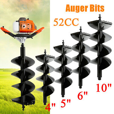 """52CC Gas Post Hole Digger Fence Earth Digger With 4"""" 5"""" 6"""" 10"""" Auger Bits"""