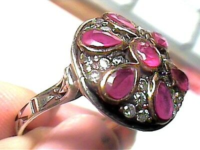medieval RING 8.25 deep ruby SAPPHIRE FILIGREE silver OLD sterling 925 vintage