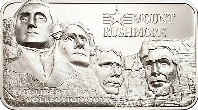 Mount Rushmore $10 2oz Proof Silver Coin Liberty Bar - Cook Islands 2018