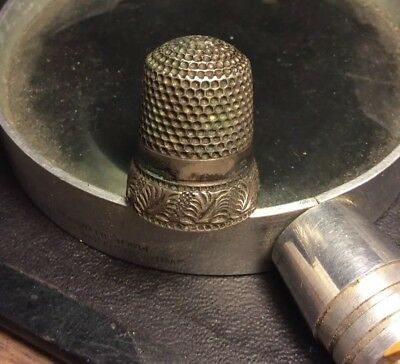 Antique Thimble w/applied Feathered Band Sz. 10