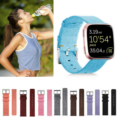 Replacement Woven Nylon Canvas Fabric Strap Wrist Band w/Buckle for Fitbit Versa