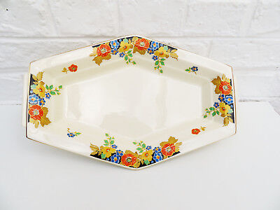 Art Deco ceramic serving platter plate Mosa Maastricht Plateel Holland orange