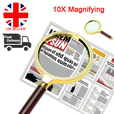 90mm Handheld Magnifier 10X Magnifying Glasses Lens Reading News Aid Loupe L4U