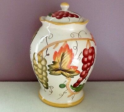 """Biscotti or Cookie Jar with Green and Yellow Grapes and Leaves 12""""Tall"""