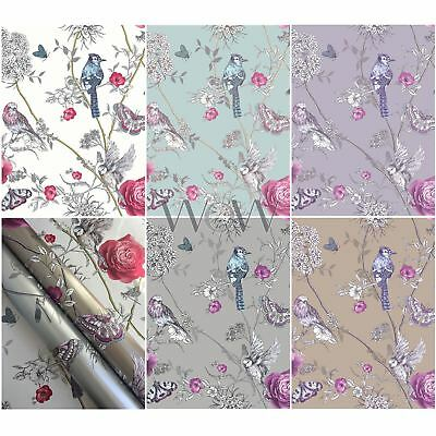 Arthouse Fantasia Paradise Garden Wallpaper Glitter Metallic Flowers Birds