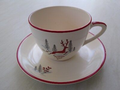 Crown Devon cup and saucer in the Stockholm leaping deer design