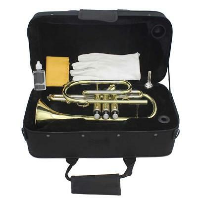LADE Copper Flat B Cornet Wind Instrument Kit with Bag Brushes Cloth Tools Gold
