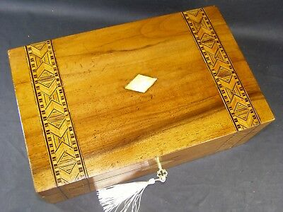 Antique Walnut Box Tunbridge Bands Working Lock & Key 1870 Mother Of Pearl