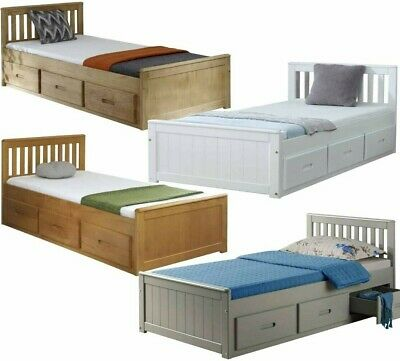 Storage Bed With Drawers White Wooden Pine Single