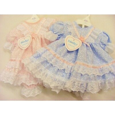 Kinder Baby Girls Spanish Style Romany Blue or Pink Frilly Bows Dress & Bloomers