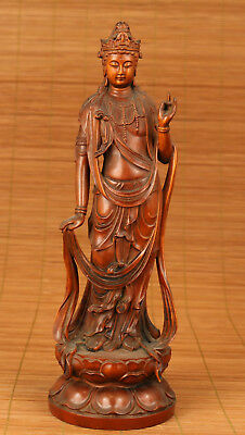 good Antique Chinese Old Boxwood Handmade Carved Kwan-yin Figure Statue