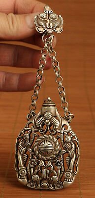 Art Copper Plating Silver Hand Hollow out Carved angel Statue Snuff bottle