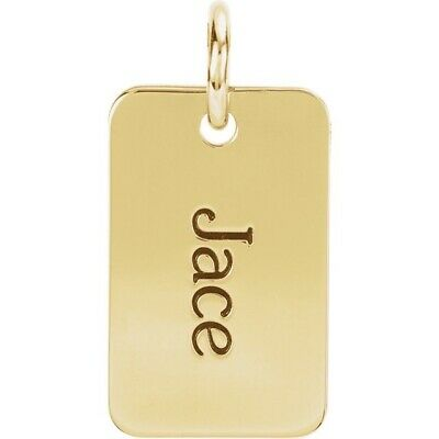 Tag Pendant Charm Posh engravable 14kt in rose yellow or white gold