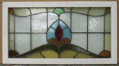 """LARGE OLDENGLISH LEADED STAINED GLASS WINDOW Great Abstract Transom 36.25"""" x 20"""""""