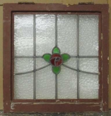 "OLD ENGLISH LEADED STAINED GLASS WINDOW Streaky Red Floral 20.75"" x 21.5"""