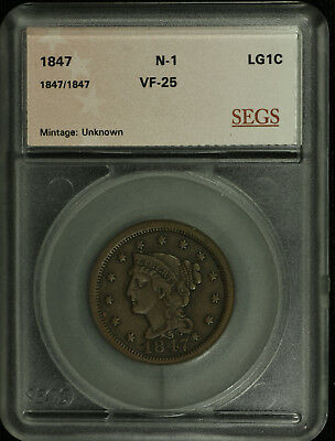 Large Cent Braided Hair. 1847 /1847 Overdate VF Plus. N-30  Lot # 9017-49-47