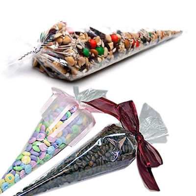 Clear Cellophane Cone Bags Large 18x37cm - Kids Party Plastic Cello Sweet Bag
