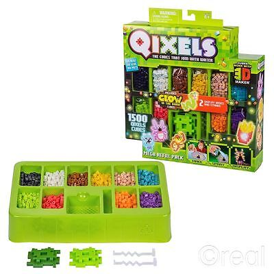 New Qixels Mega Refill Pack 1500 Cubes Glow In The Dark Craft Building Official