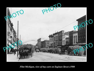 OLD LARGE HISTORIC PHOTO OF FLINT MICHIGAN, VIEW OF HAY CARTS ON SAGINAW St 1900