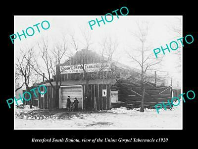 OLD HISTORIC PHOTO OF BERESFORD SOUTH DAKOTA, THE UNION GOSPEL TABERNACLE c1920
