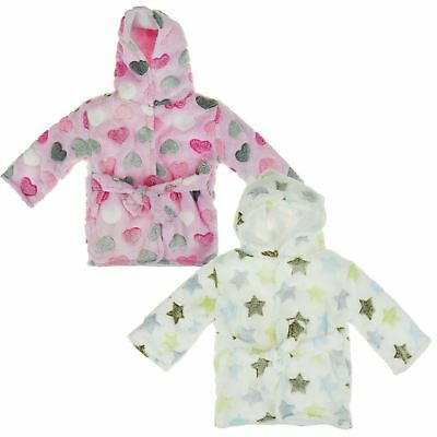 Baby Boys Girls Heart/Star Print Robe Nightwear Hooded Dressing Gown Cute New