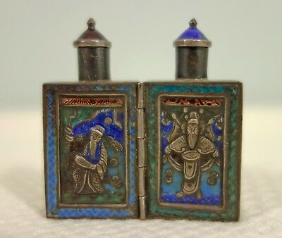 Antique Chinese Silver and Enamel Double folding snuff bottle
