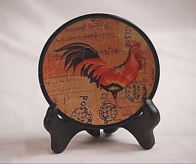 Classic Mini Decorative Rooster Plate w Wooden Display Stand Age Crazing Design & RAYMOND WAITES Designed for Toyo Trading Set of 3 Rooster Plates ...