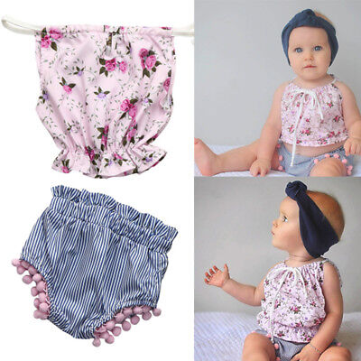 2pcs Infant Toddler Baby Girls Lace Striped Clothes Tops+ Shorts Outfits Crib