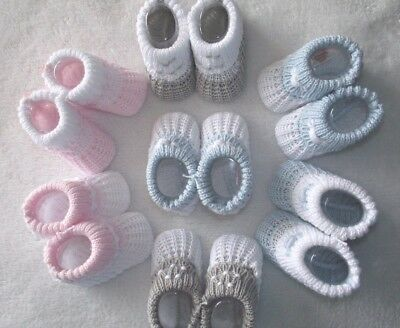 Baby Girl Boy Traditional Knitted Cotton Booties Pink Blue or Grey 0-3 months