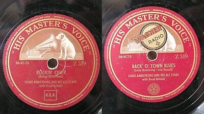 Louis Armstrong: ROCKIN' CHAIR / BACK' O' TOWN BLUES 30cm Schellackplatte
