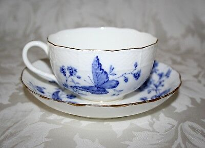 Pretty Antique Minton Large Blue And White Butterfly Teacup And Saucer