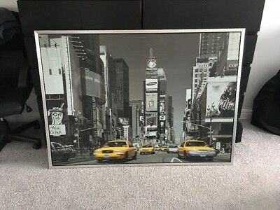 IKEA LARGE SILVER Framed Times Square New York Retro Canvas - £5.00 ...