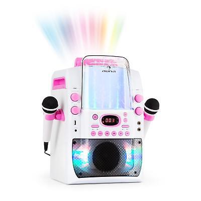 Karaoke Reproductor Musical Bluetooth Equipo CD Mp3 USB Efectos Blanco Rosa