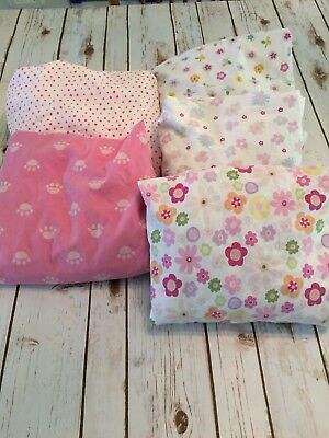 Girls Baby Crib Full Sized Fitted Sheets Lot of 5 VGUC smoke free