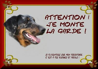 Pancarte Attention Chien Plastifiee Beauceron Arlequin 1