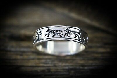 Sterling silver engraved/ shadowboxed band of wolves ring Sizes 5 through 15