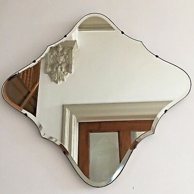 Vintage Frameless Wall Mirror Bevelled Edge Rare Diamond Shape Old 1940s Scandi