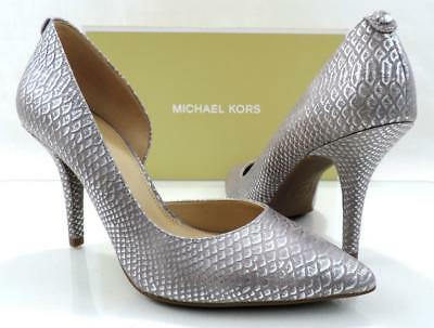 c256c126190b Michael Kors NATHALIE FLEX HIGH PUMP Metallic Embossed Leather Silver Size 9