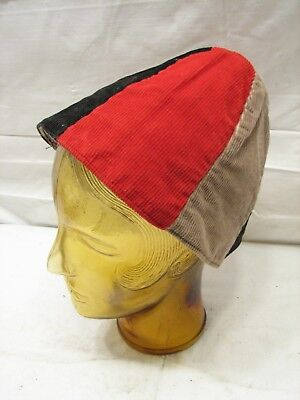 Vintage Corduroy Red White/Gray Blue Panel Beanie Hat Cap Home Made