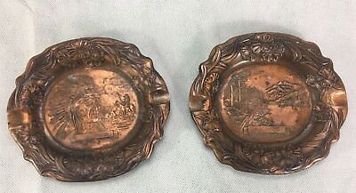 Pair Of Two Vintage Ashtrays Almar Metal Arts Native American Historical Pieces