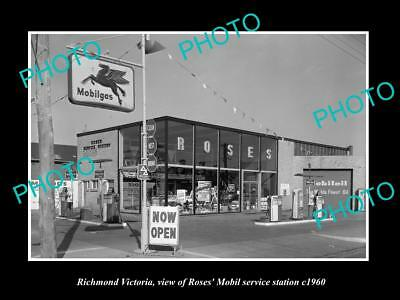 Old Large Historic Photo Richmond Victoria, Roses Mobil Oil Service Station 1960